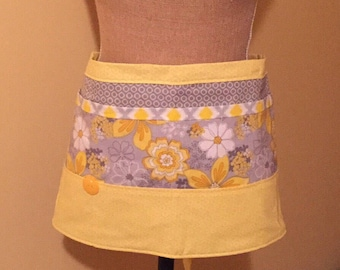 Yellow and Gray Floral Vendor / Waitress Apron