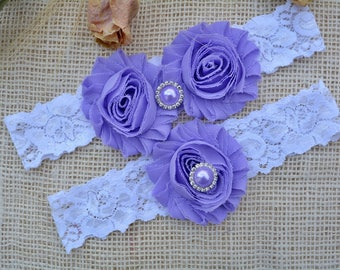 lavender Garter, Purple Garter,  Purple Wedding , Wedding Garter , Garter Purple,  Purple Bridal Garter, Crystal Garter,  Crystal Garter Set