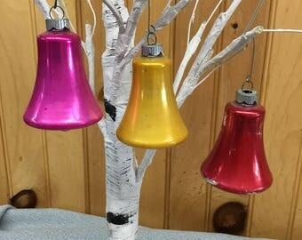 3 Vintage Shiny Brite Bell Christmas Ornaments