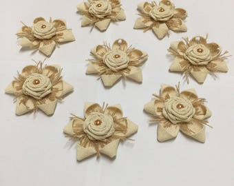 """3""""Vintage Flowers Handmade Natural Fabric Flowers Shabby Chic Burlap Rosettes with Pearl for Craft Making Scrap booking Wedding Decoration"""