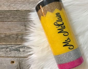 Pencil tumbler, glitter pencil, pencil cup