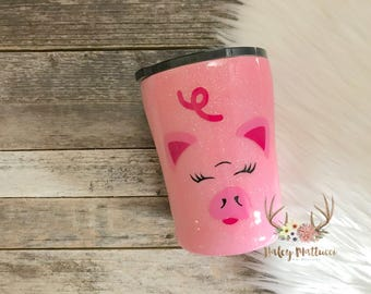 Pig Tumbler - Kid Cup - Pig Cup - Glitter Tumbler - Gift For Kids