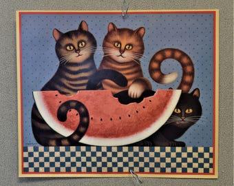 Calendar Print Wysocki Charles Wysocki Cats with Watermelon