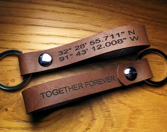 Custom Leather Keychain Thick, Leather Key Fob - Leather Lanyard - Embossed Leather Keychains - Keychains - Dark Brown - Gps Coordinates