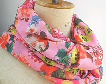 pink infinity scarf, pink round scarf, floral loop scarf, shabby chic scarf, gift idea woman, womens scarves, chiffon scarf, summer scarf