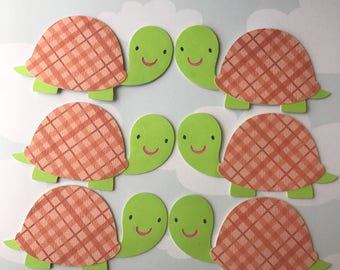 Turtle die cuts, turtle themed baby shower, turtle birthday party, turtle tags, turtle favor, turtle centerpiece, set of 6