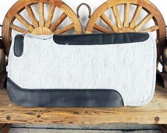 Gray Wool Felt Western Leather Contoured Spine Horse Saddle Pad