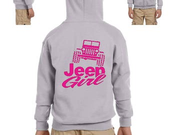 Jeep Girl Humor Trucks Gift for Christmas Birthday Match with Jeans Leggings Hats Heavy Blend Youth Full-Zip Hooded Sweatshirt