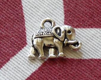 Lucky Charm, Elephant Charm, Animal Charm, Cute Elephant Pendant, Silver Tone Charm, Metal Charm, 2 Side Necklace Pendant Charm for Bracelet