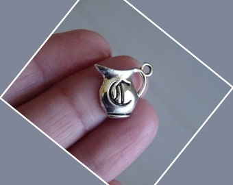 Pitcher Charm, Water Pitcher Charms, Charms for Bracelet, Pitcher pendant, Antique Silver Tone Charms