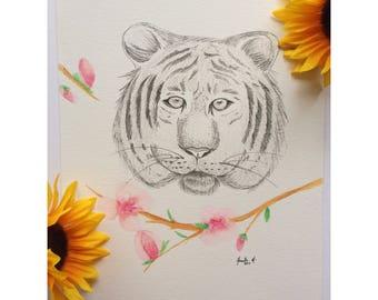 Tiger Illustration, Tiger Painting, Ink Illustration, Original Art, Janelle Paints Shop