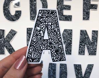 Transparent - Zentangle Alphabet letters