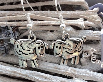 Sheep earrings, sheep dangle earrings, sheep jewellery, sheep gift, farm livestock, lamb earrings , farm animal jewellery, gift for farmer