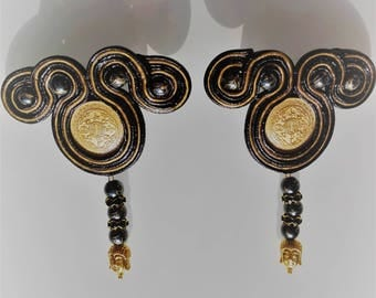 "Earrings earrings earrings ""Buddha temple at bamboo garden"" Soutache Sutasz bamboo Buddha Asia Azja Asia"