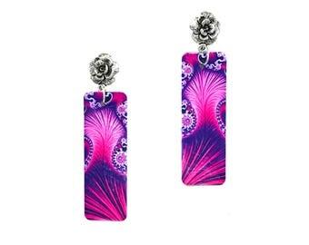 Pink Purple Rose Stud drop earrings
