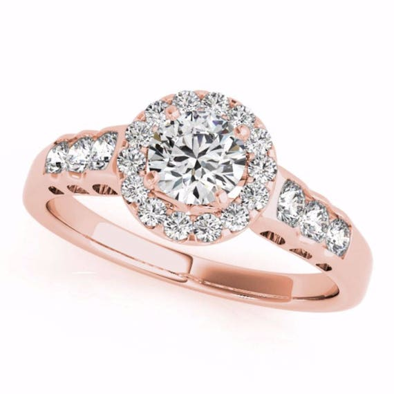 Halo Engagement Ring ; 1.25 CT Round Natural Diamond Engagement Ring - 14K Rose Gold Ring Wedding Bridal Jewelry Halo Gift For Her
