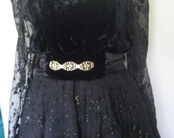 Velvet and Black Lace evening dress