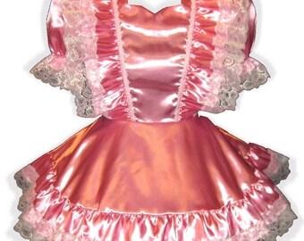 50% OFF SALE ANNETTE Custom Fit Satin Ruffles Adult Baby Little Girl Sissy Dress Leanne