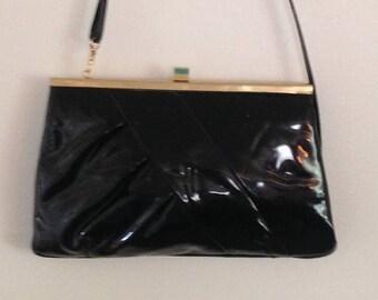 On Sale Vintage Black Patent Leather Purse