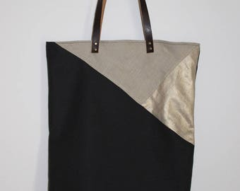 """Tote bag"" tote bag graphic in linen and leather straps"