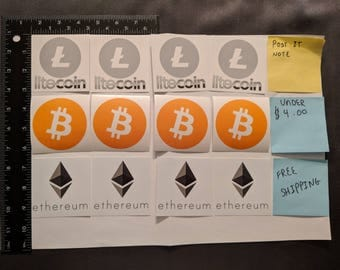 "PACK OF 12 - 4 Bitcoin, 4 Litecoin, 4 Ethereum Stickers - Free Shipping! 3"" x 3"""