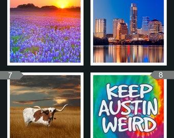 Ceramic Tile Coasters, Austin, Texas, Austin Coasters,Bluebonnets, Longhorn, Skyline, Keep Austin Weird