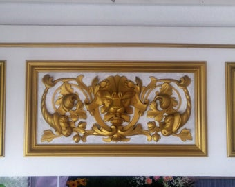 Mural decoration image Lion Gold White