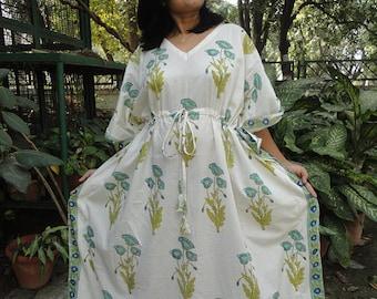 Maxi Dress, Indian kaftan, batik dress, Summer dress, sundress, night gown, cotton kaftan, indian dress, oversized dress, yoga wear