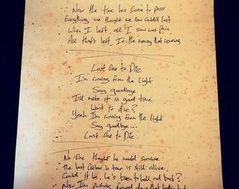 Handwritten Lyrics by Matty James Cassidy