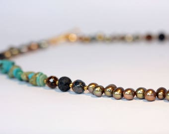 Pearl, tigers eye, turquoise, gold hematite, and lava beaded necklace
