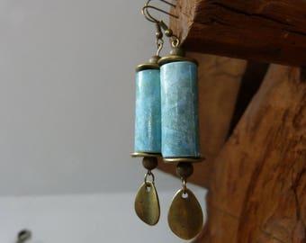 Paper beads Earrings & bronze sequins