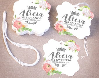 100 Quinceañera Favor Tags   Personalized Mis 15 Sweet 16 Favor Tags   Floral Peonies