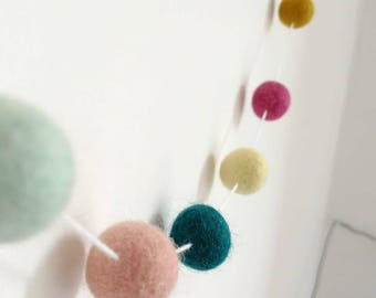 Spring decor, feltball garland, mint decor, mustard decor, felted pompom garland, bedroom decor, nursery decoration, hygge home decor,