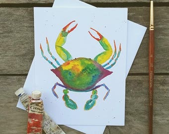 Crab Watercolor Greeting Card