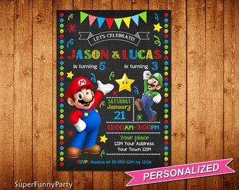 Super Mario Invitation, Sibling Super Mario Chalkboard Birthday Invitation, Super Mario Bros Invitation, Personalized, Digital File