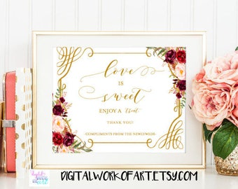 Love is Sweet Take a Treat Sign, Dessert Table Sign,Wedding Refreshment Sign,Reception Sign, wedding decor, floral wedding,floral boho, #LC