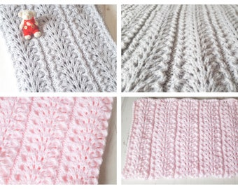 """Made To Order Hand Knitted  Baby Wrap Baby Blanket 22"""" x 28"""""""