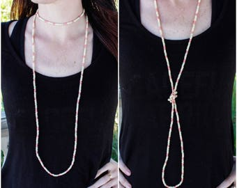 Long Beaded Wrap Necklace - Coral Mix