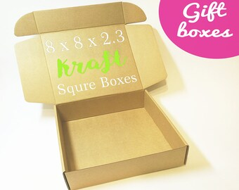 Kraft Cardboard Boxes With Lids - Square Box, Gift Boxes, Medium Size Corrugated Box, Packaging Supplies, Carton Paper Boxes, Gift Wrapping