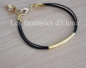 Black leather bracelet / gold