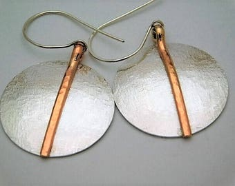 Hammered Silk Sterling Silver Dangle Earrings with Wire Accent