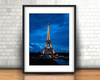 Twinkling Eiffel Tower, Eiffel Tower Print, Eiffel Tower Art, Paris Print, Paris Wall Art, Eiffel Tower at Dusk, Eiffel Tower Wall Art