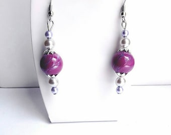 Purple earrings, purple and gray