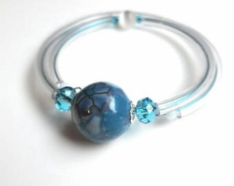 Pearl bracelet memory wire, Pearl blue and white flowers, polymer clay, designer jewelery