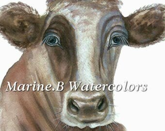 Watercolor Cow Art Print 8 x 10 in