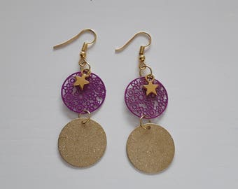 Purple and gold filigree earrings