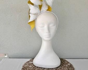 Ladies white & yellow leather crown headband fascinator