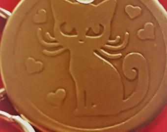 HandmadeA17-Free Shipping-Cat Tag -Cat ID Tag - Cat Name Tag - Handmade Brass Tag Deep Etched