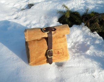 """Our Waxed Canvas and Leather """"D-Ring"""" Lunch Bag"""