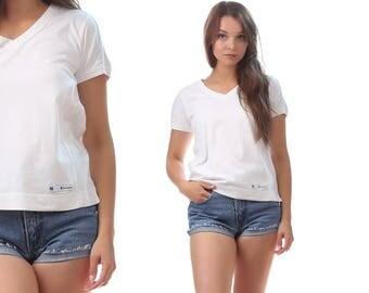CHAMPION T Shirt 80s  White Champion Logo Retro Oldschool Vintage Cozy Tee Shirt Athletic Top Easy Fit Small